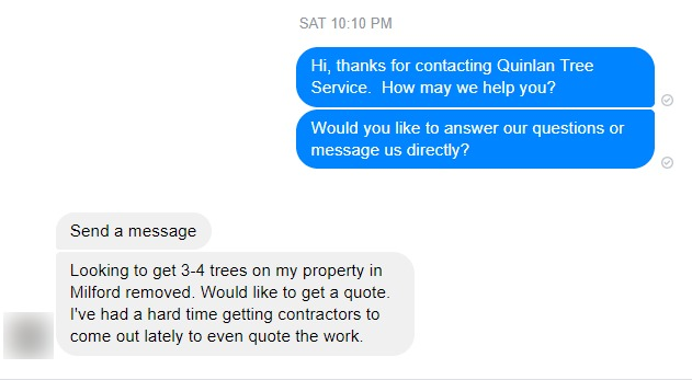 Tree Removal Leads from Facebook Messenger