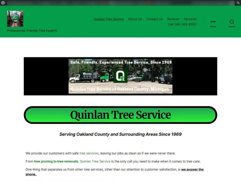 Arborist website design and development