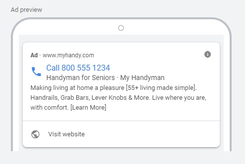 Google PPC Ad for Handyman Lead Generation
