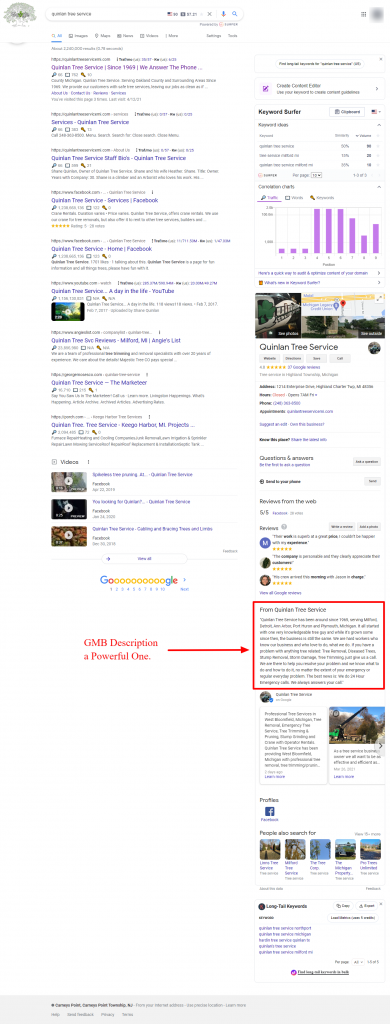 Example of a Tree Service Google My Business Description