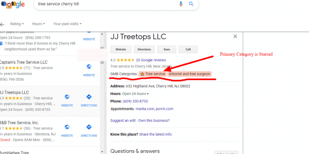 google business categories